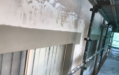 cement rendering in exterior wall